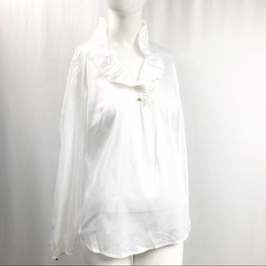 Elizabeth McKay • Ruffle Collar White Blouse NEW